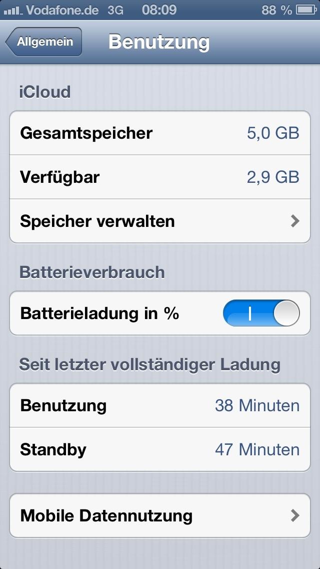 iPhone Akku in Prozent
