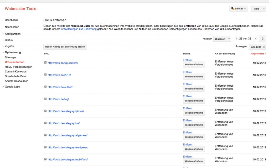 Google Webmaster-Tools URL's entfernen