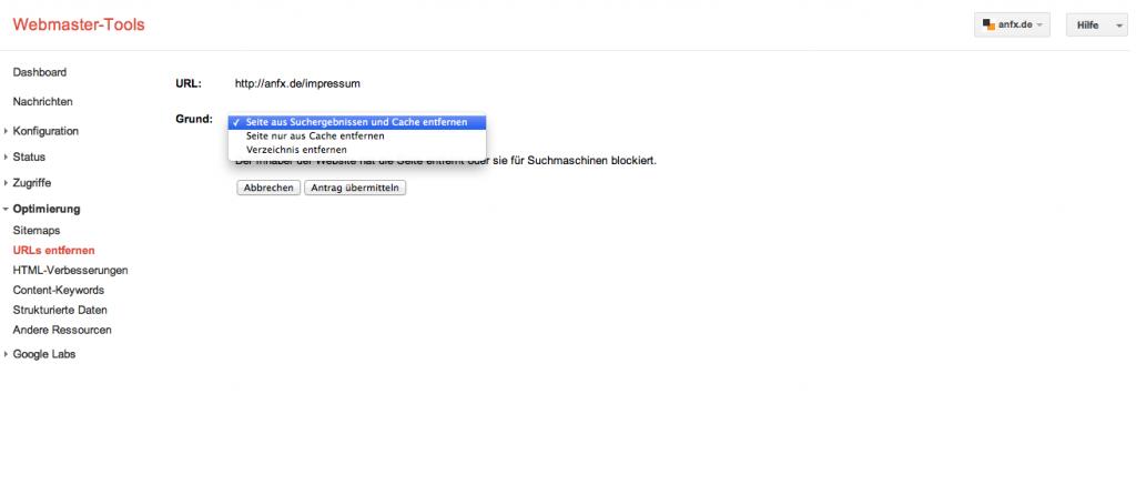 Seite entfernen - Google Webmaster-Tools