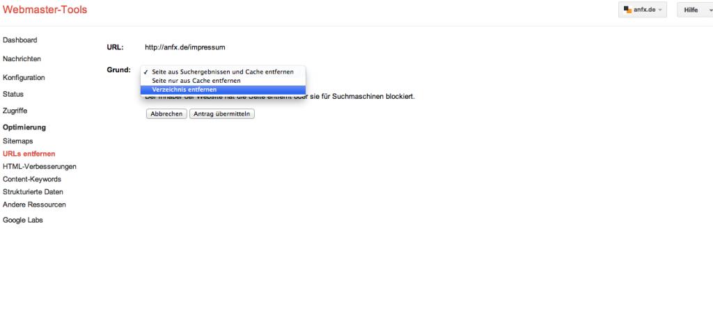 Verzeichnis entfernen Google Webmaster-Tools