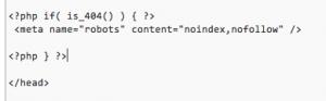WP-Admin 404 auf noindex setzen