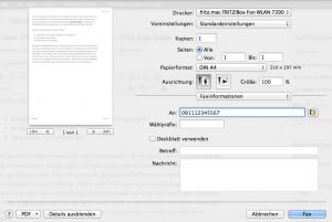 Fritzfax Drucker Mac
