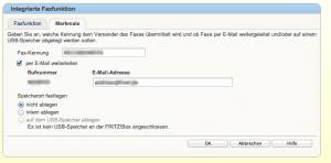 integrierte Faxfunktion Fritzbox