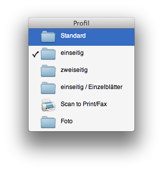 Profile ScanSnap Manager