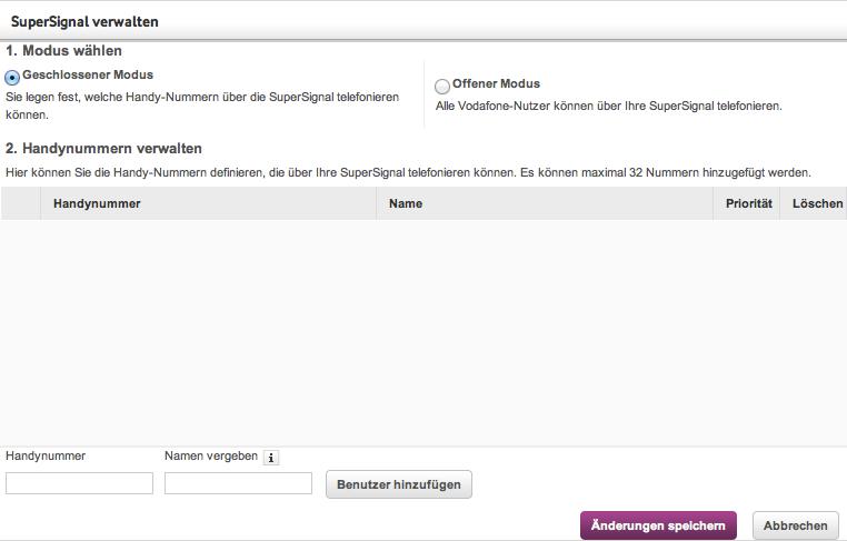 VodafoneSuperSignal-Rufnummernverwaltung